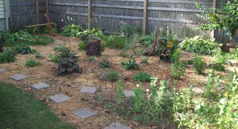 Woodchips garden with bench