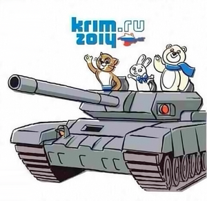 tank Sochi mascots Russia intervention Crimea